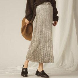 【socolla】ベロアプリーツストレートスカート/メイソングレイ(MAYSON GREY)