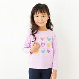 【90-140cm】コットン(綿)100%・ハート&ハート長袖Tシャツ/サンカンシオン(キッズ)(3can4on Kids)