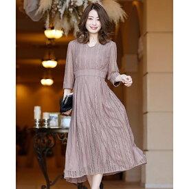 ストライプオールレースワンピース・結婚式ドレス・お呼ばれパーティードレス/プールヴー(PourVous)