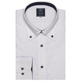 形態安定 ノーアイロン 長袖ワイシャツ ボタンダウン 白×パープルチェック 標準体/ブリックハウス(BRICKHOUSE)