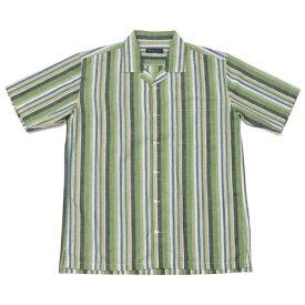 カジュアル半袖シャツ オープンカラー 麻混 グリーン系マルチストライプ/ブリックハウス