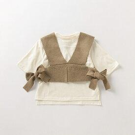ニットビスチェ×サイドスリットTシャツセット/プティマイン(petit main)