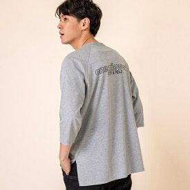 【1M】ドライ天竺サイドスリット7分袖Tシャツ(バックプリントT)/コーエン(メンズ)(coen)