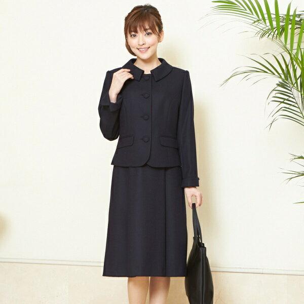 【お受験スーツ】国内産高品質ウール100% 純日本製ステンカラーお受験アンサンブル/入学式/卒業式/ソリテール(SORITEAL)