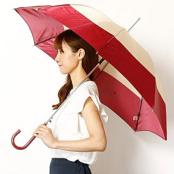 【JJ 7月号掲載】【雨傘(ジャンプ式)】長傘(2色ボーダープリント/耐風骨使用)/レディース/ピンキー&ダイアン(雑貨)(Pinky&Dianne)