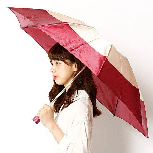 雨傘(折りたたみ/3段折り/ミニ)】2色ボーダープリント/レディース/ピンキー&ダイアン(雑貨)(Pinky&Dianne)