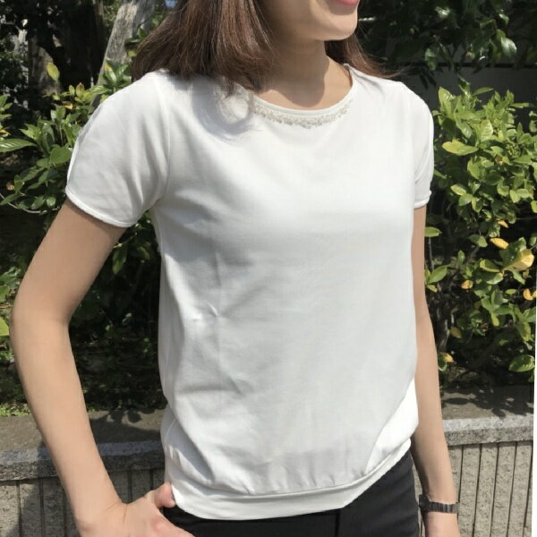 【XXS〜7L】装飾付き半袖カットソー/アールユー(ru)
