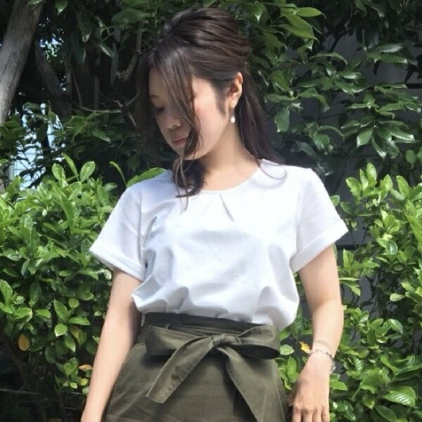 【接触冷感・シワになりにくい】フロントタックバックデザインカットソー/アールユー(ru)