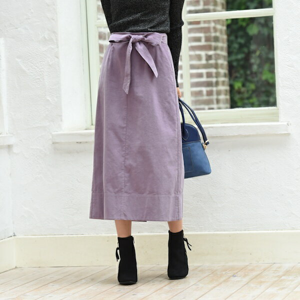 【XXS〜7L】コーデュロイ素材 リボン付きAラインスカート/アールユー(ru)