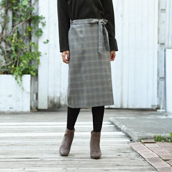【秋の新作】【XXS〜7L】グレンチェックリボン付きスカート/アールユー(ru)