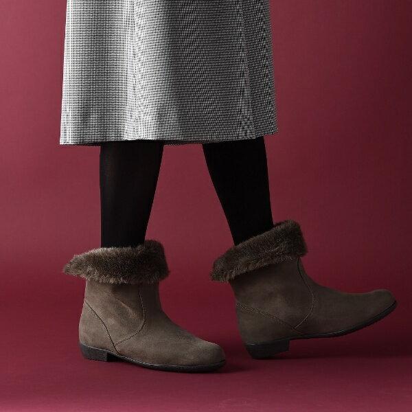 【マルイのラクチンブーツ★送料無料】[ラクチンきれいブーツ]折り返し2wayファーブーツ(2.0cmヒール)/ヴェリココ(velikoko)