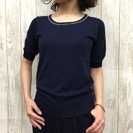 【アウトレット19SS】ひんやりが嬉しい!二の腕カバー 装飾付き半袖セーター/アールユー(アウトレット)