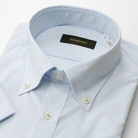 【アウトレット20SS】(形態安定加工生地)[半袖ラクチンすっきりYシャツ]/ビサルノ