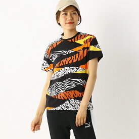 レディースカジュアルSSシャツ(CLASSICS AOP ロゴTシャツ)/プーマ(PUMA)