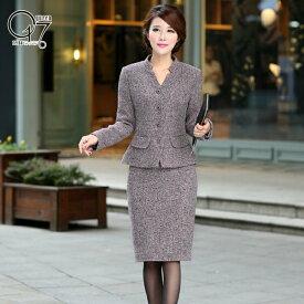 【3980円送料無料】ハイクオリティーパープルツイードがエレガントなスカートスーツ (hq-suit-26)