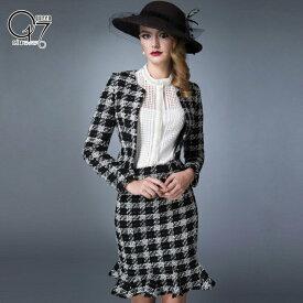【3980円送料無料】ハイクオリティーブラックチェック柄ツイードスカートスーツ (hq-suit-32)