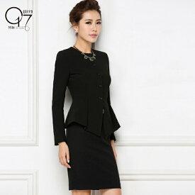 【店舗改装最終値下げ】ハイクオリティーシックなブラックノーカラースカートスーツ (hq-suit-34)