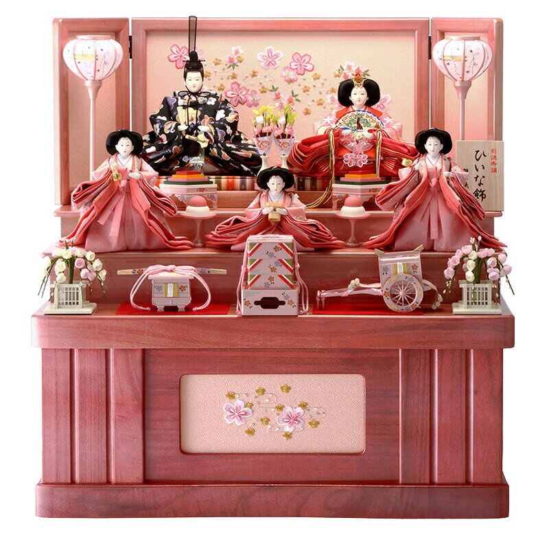 雛人形 ひな人形 小さい 雛 コンパクト収納飾り 雛 三段飾り 五人飾り 雛人形 ひな飾り お雛様 おひなさま h263-hs-3-307-s-2 おしゃれ かわいい 人形屋ホンポ