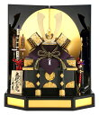 久月 五月人形 コンパクト 兜飾り 兜平飾り 大鍬形之兜 金小札正絹黒糸縅 15号 金沢箔 家紋付 h265-kcp-50200 端午の…