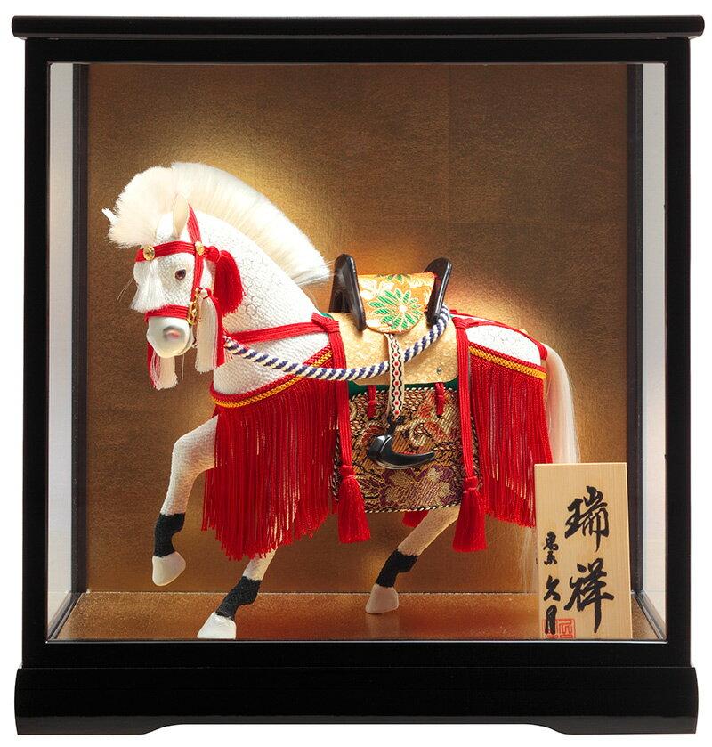 五月人形 ケース入り 久月 コンパクト ケース飾り 武者人形 瑞祥 飾馬 8号 月印8A 【2018年度新作】 h305-k-tsuki8a K-141