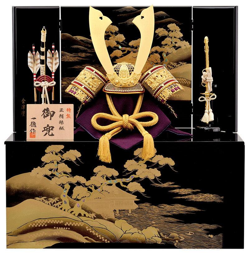 五月人形 収納 兜 飾り収納兜飾り 金茶中鍬兜 12号 一徳 h305-mm-068【収納兜飾り】【収納】