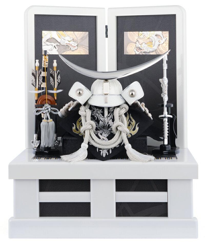五月人形 収納飾り 伊達政宗 兜飾り 伊達 シルバー 兜台セット 兜収納飾り h285-mien-l5047