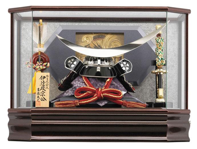 吉徳 五月人形 伊達政宗公 兜ケース飾り 12号 弦月形前立 【2018年度新作】 h305-ys-537513
