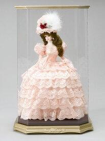 西洋人形 フランス人形 仏蘭西人形 ケース入り人形 寿喜代作 リボン・グレイシィ サーモンピンク アクリルケース付 【2018年度新作】 sk-gfk1510 人形屋ホンポ