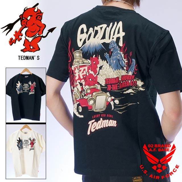 テッドマン×ゴジラ コラボ 半袖Tシャツ メンズ TEDMANS GODZILLA tdgz-100