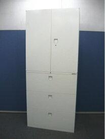 オカムラ レクトライン H2150 ユニット(両開き書庫+3段ラテラル書庫)セット 鍵1個付【中古品】