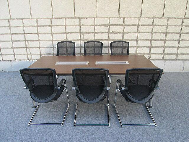【中古】(株)オカムラ ラティオ2412会議テーブル+コンテッサゲストチェア×6脚セット