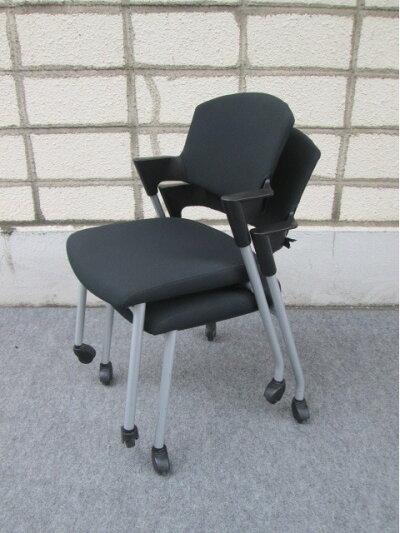 スタッキングチェア【コクヨ】会議椅子【中古】ブラック
