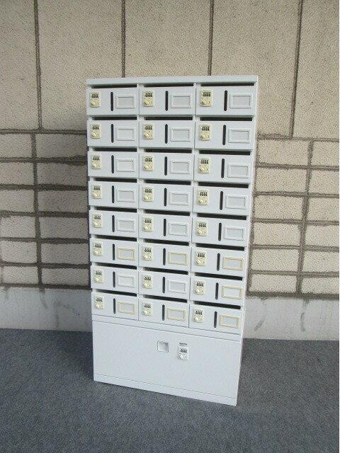 オカムラ レクトライン メールボックス ダイヤル錠 24人用+引き出し付き【中古オフィス家具】
