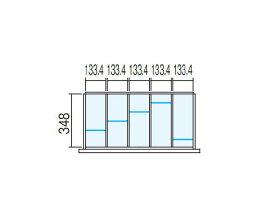 壁面収納ユニット用【ラテラル オプションパーツ】仕切り板セット INABA Line Unit TF 【W800×D400用 5分割タイプ】