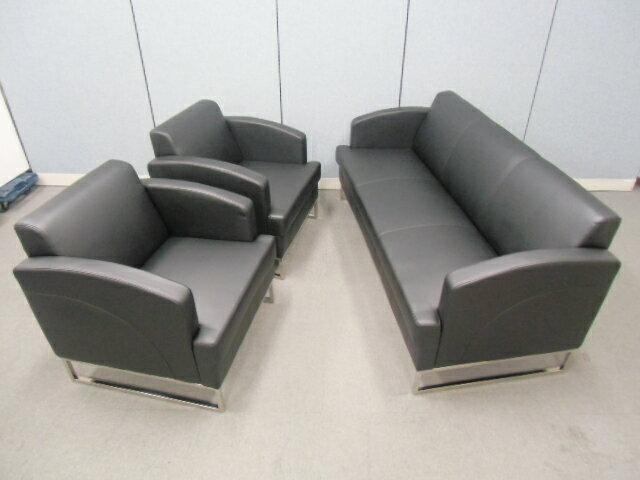 【新品】応接3点セット☆XP-117☆【合成皮革】長椅子 + 1人掛け×2