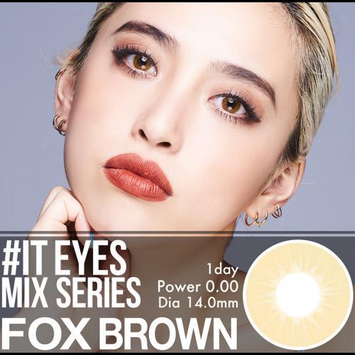 【送料無料】FOX BROWNフォックスブラウン●IT EYES イットアイズワンデー!!透き通るハーフブラウン 1箱10枚 度なし 1day DIA:14.0mm より自然な外国人の瞳 透き通る瞳 イットアイズ クオーターカラコン(カラコン)(ハーフカラコン)