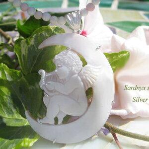 Giovanni Romano作 シェルカメオSILVERカメオ ペンダント【ムーンエンジェル 月の天使】