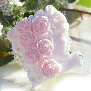 カメオ ブローチRaffaelle Pernice作 ピンクコンクシェル カメオK18WGペンダントブローチ【薔薇の髪飾り】