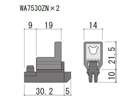 内部コーナーピース たて軸回転窓用 不二サッシ WA7530ZN (2個入り)
