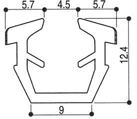 グレチャン YKK AP(サッシ開口溝13ミリ 6〜6.8ミリガラス用) 【1m単位販売】【メーカー取り寄せ品】
