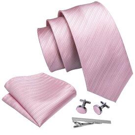ネクタイ チーフ タイピン カフス 4点 セット メンズ おしゃれ 幅 レギュラータイ ピンク ストライプ (メール便 送料無料)