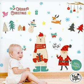 メール便選んで 送料無料 ウォールステッカー クリスマス 飾り メール便可 【メリクマ】 3枚組 シール 壁 賃貸OK 貼ってはがせる フォトブース しろくま シロクマ ツリー サンタクロース クリスマスツリー 店内装飾