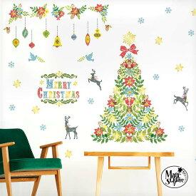 メール便選んで 送料無料 ウォールステッカー クリスマス 飾り メール便可 【トゥインクルツリー】 3枚組 シール 壁 賃貸OK 貼ってはがせる フォトブース ツリー 箔押し サンタクロース クリスマスツリー オーナメント 店内装飾