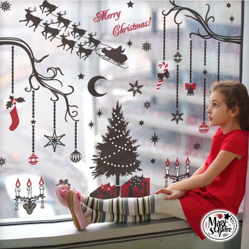 ウォールステッカー クリスマス 飾り 【素敵なメリークリスマス】 シール 壁 壁紙 クリスマスツリー はがせる 剥がせる 北欧 おしゃれ かわいい サンタクロース 玄関 室内 パーティー 飾りつけ 飾り付け リース 子供部屋 キッズルーム デコレーション モノトーン