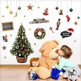 クリスマスツリー ウォールステッカー クリスマス 飾り 【お願いサンタ】 シール 壁 壁紙 ツリー リース 賃貸OK 貼ってはがせる 北欧 実写 サンタ サンタクロース パーティー 飾り付け
