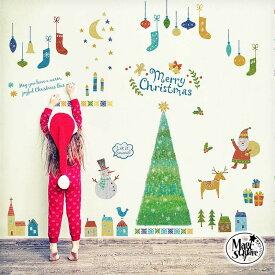 メール便選んで 送料無料 ウォールステッカー クリスマス 飾り メール便可 【フェアリーツリー】 3枚組 シール 壁 賃貸OK 貼ってはがせる フォトブース モノトーン チョークアート ツリー サンタクロース クリスマスツリー 店内装飾