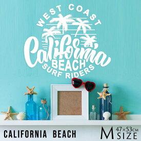 送料無料 ウォールステッカー 受注生産 【 California Beach レギュラーサイズ 】 転写式 夏 木 海 星 黒 マスキングテープ ロンハーマン 西海岸 サーフ系 Surf アメカジ インテリア カリフォルニア ロゴ モノトーン ビーチハウス サーフボード CALIFORNIA SURF 新生活