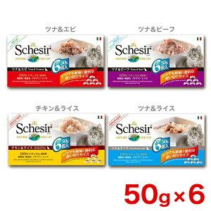 [シシア]Schesir キャット 50g×6個セット マルチパック / チキン&ライス ツナ&エビ ツナ&ビーフ ツナ&ライス /猫用