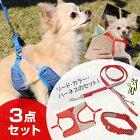 ツートンドットカラー首輪/ハーネス/リード3点セット小型犬用#w-138953