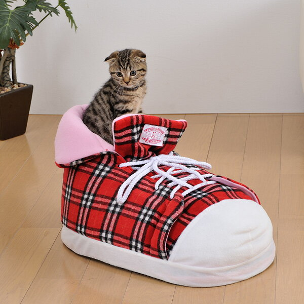 【あす楽】ボンビアルコン シューズクッション チェックレッド 犬猫用ハウスベッド 4977082796526 #w-143618